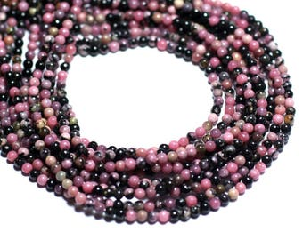 40pc - stone beads - pink and black Rhodonite beads 2mm - 8741140007963