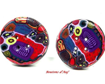 2 sewing buttons. 2 buttons round fantasy 3 cm: dominant red graffiti series.