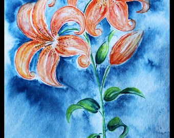 Original illustration painted in watercolor on ARCHES 300 g/m²le Lily
