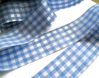 Gingham Ribbon 40mm x 5 m blue and white tiles with satin silver 40mm wire
