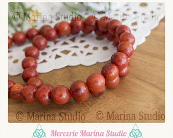 5 red coral beads 8mm - natural undyed coral