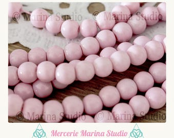 40 round 6mm pink glass beads