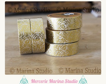 Real washi tape gold gilded with 10M rice paper roses