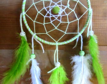 Dream catcher light green and white / actual 30 cm
