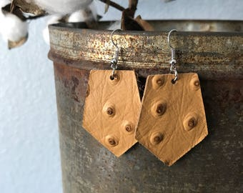 Leather earrings/mustard yellow wide tag earrings