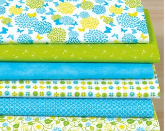 """Set of 7 fabric patchwork 1mx1 m """"Spring meadow"""""""