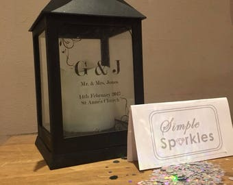 Personalised Unique Wedding Present Lantern with Battery Powered Candle