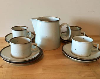 Vintage Dansk Brown Mist Pitcher, Mugs and Saucers // Vintage Dansk Stoneware // Mid Century Modern Kitchen // Collectible