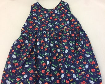 Navy Floral Print Infant Sundress.  With White Lace Trim Size 3-6 months Simple Vintage Style Jumper Dress