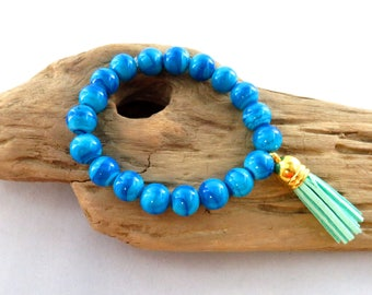 Beaded Blue Bracelet With Mint Tassel