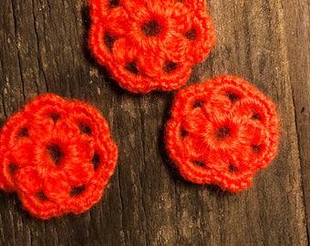 3 Crochet Appliques Flowers, Orange Crochet Flowers, Orange Applique Decoration, Knit Flowers, Craft Supplies,