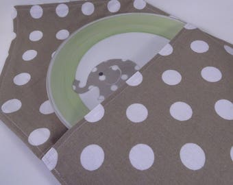 plate and its green cover and taupe boy birthday gift