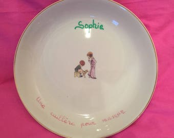 """Plate child/baby girl personalized pink and green """"Spoon for MOM"""""""