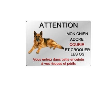 plate beware of dog German Shepherd 29x20cm aluminum metal about ref 15