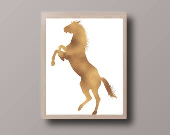 Gold Foil Horse Print, Horse Print, Animal Print, Nursery Print, Horse Printable, Hipster Print, Teen Room Decor, Nursery Print