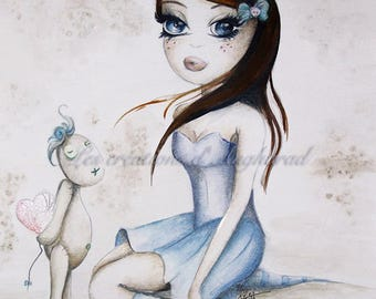 Watercolor original girl pattern: Sidonie