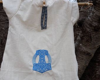 Tunic, embroidered fantastic medieval child shirt Mjöllnir and wolves