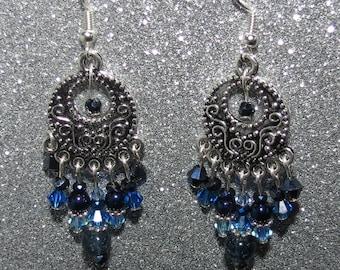 "*~. ""Intense"" earrings. ~ * Navy Blue, Royal, gray and black, silver, original"