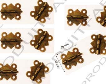 Set of 10 Bronze hinges for box jewelry box chest screw described 20 x 16 mm