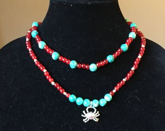 Double strand silver crab Necklace