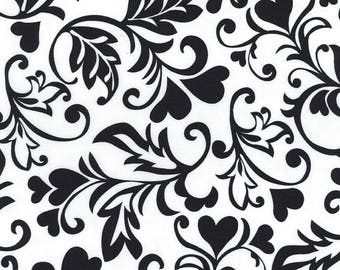 Black and white fabric hearts Miller