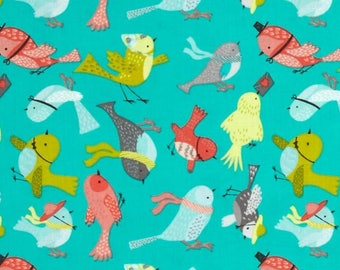 Patchwork birds fabric camelot fabric
