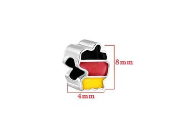 German flag colors and card silver bead.  For jewelry making, bracelet. Size approximately 8X4mm