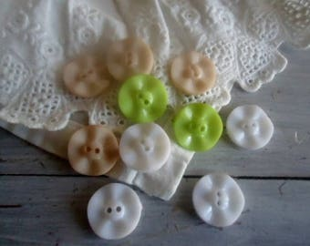 Nice set of 10 buttons green, beige, white flowers