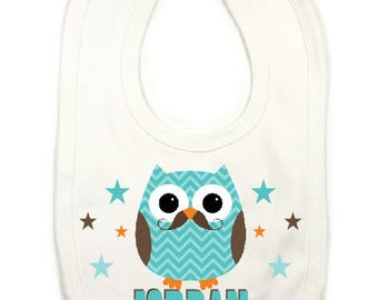 "Large ""owl mustach'man"" personalized bib"
