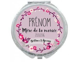 "Personalized Pocket mirror ""mother of the bride"""