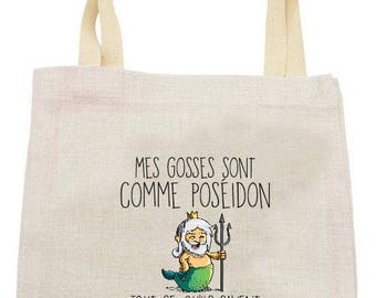 "TOTE BAG in linen ""my kids are like poseidon"""
