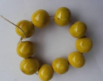 Yellow ceramic beads