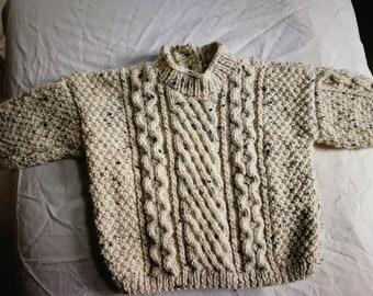 Pull irlandais 9 mois beige tricoté main
