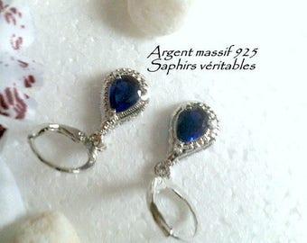 Silver Sapphire earrings