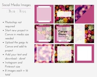 Instagram & Pinterest Template Pack - Dark Roses  8 social media template pack