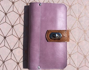 Companion, worn leather wallet, currency, holder cards, checkbook