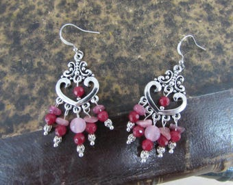 "Earrings silver and pink stone natural ""Ornella"""