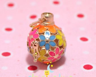 Cage shape round openwork flowers multicolored Bola Harmonyball 16mm gold tone