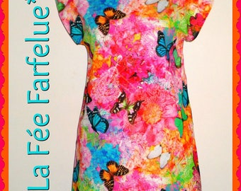SALE tunic cotton BUTTERFLIES thick from 34 to 50