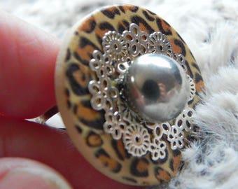 Leopard skin rattle Adjustable ring