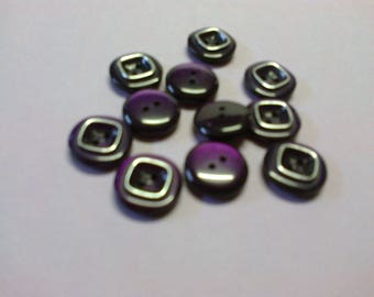 Eleven purple buttons with square silver o 1.40 cm
