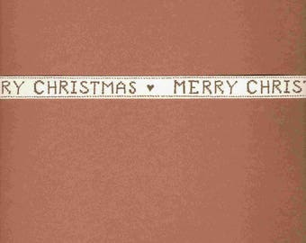 Ribbon Christmas special wide 1.5 cm beige inscription