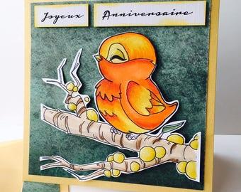 """little birdie """"happy birthday"""" card"""