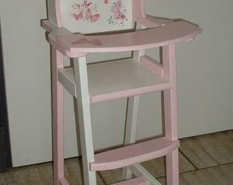 """High Chair wooden doll or reborn - """"butterflies"""""""