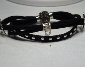 black and silver suede bracelet
