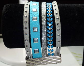 Suede, leather and chain Cuff Bracelet