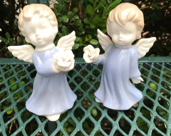 Set of Two Miniature Angels with Rose .