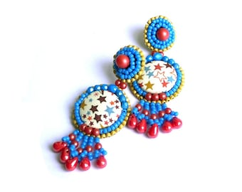 Earrings embroidered Liberty Adelajda blue and Red
