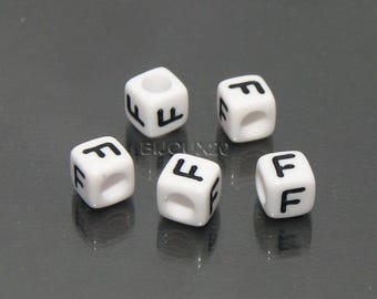 f 30 white cube beads 6mm black acrylic letter F