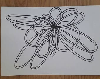 Abstract Drawing, Black & White - Loop 3